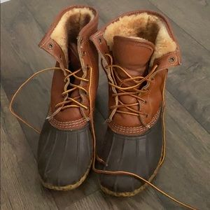"""Women's Bean Boots, 8"""" Tumbled-Leather Shearling-L"""
